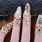 Women Crystal Nail Midi Art Finger Tip Ring Above The Knuckle Ring Charm Jewelry
