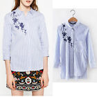 Floral Pattern Embroidery Striped Contrast Color Button Down Shirt Casual Blouse