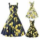 New Women's 50s 60s Vintage Lemon Print Rockabilly Cocktail Party Swing Dress