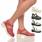 WOMENS LADIES MID HEEL PLATFORM GLADIATOR STRAPPY FISHERMAN SANDALS SIZE