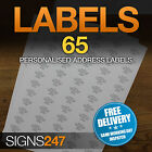 65no. PRINTED ADDRESS LABELS Self Adhesive Return Address PERSONALISED LABELS
