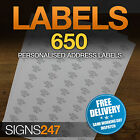 650no. PRINTED ADDRESS LABELS Self Adhesive Return Address PERSONALISED LABELS