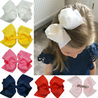 Внешний вид - 6 Inch Girls Large Double Layers Hairbow Baby Hair Bows Grosgrain Ribbon Clips