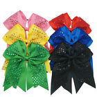 8 Inch Girls Sequin Large Grosgrain Ribbon Cheerleading Cheer Bow Elastic Band