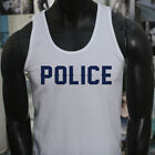 LIVES MATTER PROUD US POLICE BLUE Mens White Tank Top