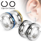 Pair of Surgical Stainless Steel Non-Piercing Ear Cuff Clip On Earrings (692)