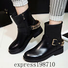 Women Leather Round Toe Breathable belt buckle Metal decor Low Heel Martin boots