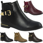 WOMENS LADIES BUCKLE STRAP LOW CUBAN HEEL ANKLE CASUAL CHELSEA BOOTS SHOES SIZE
