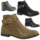 WOMENS LADIES GOLD STRAP LOW CUBAN HEEL ANKLE CASUAL CHELSEA BOOTS SHOES SIZE