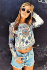 NWT ZARA EMBROIDERED CROPPED TOP BEADED SHEER BACK BLOUSE SHIRT REF. 6895/042