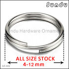 Wholesale 4-12mm Stainless Steel  Split Key Ring Hook Silver Color Fishing Solid
