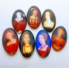 7 TUDOR IMAGE GLASS CABOCHONS - KING HENRY VIII & HIS 6 WIVES 13 x 18mm Oval