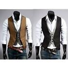 Men's Casual Fashion Double Layered Button Chained Waistcoat Vest Jacket