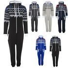 Mens Ladies Onesie Aztec Printed Zip Hooded All In One Jumpsuit Playsuit Fleece