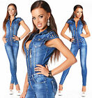 Sexy New  Womens Blue Denim Jeans Jumpsuit Overall With Zippers C 724