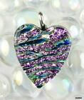 Sterling silver pink blue gold genuine dichroic glass heart pendant in gift box