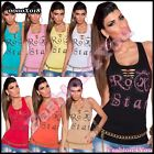 Women's Tank Top Ladies Fitted Sexy Summer Casual Vest Top ONE SIZE 6,8,10 UK