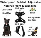 SECURITY DOG Black Pet Vest Harness Non Pull Front Back Ring Padded Waterproof