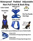 THERAPY DOG Vest Harness & Leash Set Padded Rainproof Ex S M L Blue Color Coded