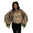 New Women Batwing Cape Knit Poncho Top Cardigan Pullover Black leopard print