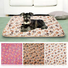 Pet Small/Large Warm Paw Print Dog Puppy Cat Pig Fleece Soft Blanket Beds Mat