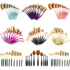10x Beauty Makeup Toothbrush Oval Cream Puff Shaped Foundation Power Brushes Set