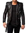 Men's Genuine Leather Jacket Motorcycle Biker SlimFit coat Black K305