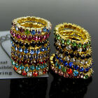 12Pcs Gold Tone Elastic Crystal Toe Ring Multicolor Body Jewelry Choose color