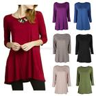 Fashion Womens Casual 3/4 Sleeve Loose Top Blouse Boat Neck  Tunic Long T-Shirt