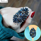 Vintage Big Hollow Crystal Dragonfly Blue Purple Ring For Women Fashion Jewelry  image