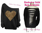 Leopard Heart Off Shoulder Black Sweatshirt S M L XL Plus Size 1X 2X 3X 4X 5X
