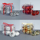 Premier 8 Pack Snowflake 40mm Jingle Bell Baubles - Red Gold Silver or White