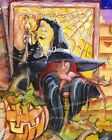 Red haired Witch & Black Cats Jack O Lantern Waiting For Halloween Art Print