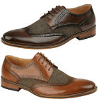 Mens Faux Leather Casual Smart Office Work Brogue Formal Brogues Dress Shoes