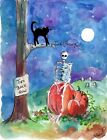 Mr. Lonely Skeleton Turn Back Now Halloween Night Black Cat Full Moon Print
