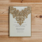 Free Personlize Gold Laser Cut Wedding Party Invitations With Envelope Seals