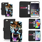 pu leather wallet case for lots of Mobile phones - angry tiger.