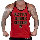 Men's Respect Honor Courage Red Stringer Tank Top Fitness Workout Army Military