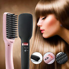 2 In 1 PTC Heating Ionic Hair Straightener Brush Electric LCD Display Hair Comb