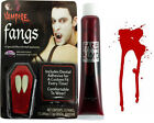 NEW VAMPIRE DRACULA FANGS HALLOWEEN  CAPS TEETH FAKE BLOOD ADHESIVE FANCY DRESS