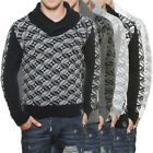 Tazzio 3935 Herren Schalkragen Strick Pullover Sweat Shirt Winter Pulli