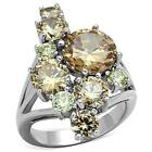 MJS Silver Tone Champagne & Yellow Citrine CZ Cocktail Fashion Ring Size 5-10