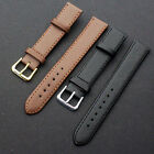 Quality Leather Black Brown Wristwatch Watch Strap Band Womens Mens image