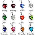 Crystal Birthstone Heart Cremation Jewelry Keepsake Memorial Urn Necklace