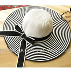 H11-2 great great Hat Straw Hat Sun Summer Hat black/white 56-58 NEW