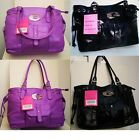 Beautiful Large Soft Faux Leather Twin Handle Fashion Shoulderbag Black/Purple