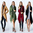 Women Ladies Waterfall Belted Jacket Long Crepe Cardigan Long Sleeve Trench Coat