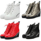 Punk Womens Ankle boots Wedge heels Platform Lace up Knight boots Shoes Big size