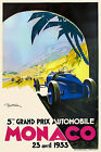 Vintage French Monaco Grand Prix Poster 1930s Art Deco Motor Racing Sports Cars