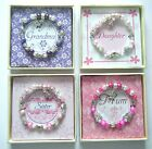 BOXED CRYSTAL BUTTERFLY CHARM BRACELET CHOICE OF MUM GRANDMA DAUGHTER OR SISTER